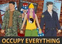 "Text borders image at the top, ""Activate Actuality"" and at the bottom ""Occupy Everything"": Rendered in modern style, female protester with pink hair is holding hands with, to her left, a policeman, and to her right, a soldier. A slew of political causes are referenced with posters in the background and pieces of cardboard on the ground."