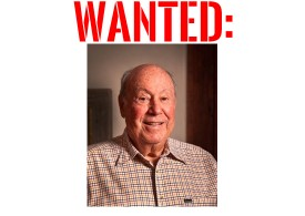 """Don Diamond, with large red stencil lettering above which reads, 'WANTED'"""