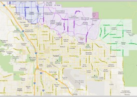 Map of Tucson with areas of Casas Adobes, Catalina Foothills, and Tanque Verde highlighted