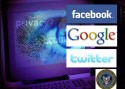 Ominous shaded computer screen with facebook, google, twitter and director of national intelligence logos