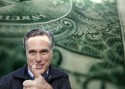 "close-up of dollar bill in background, Mitt Romney ""thumbs up"" in foreground"