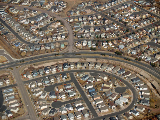 Aerial view of suburban neighborhood