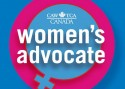 "Foreground: large white text reads, ""women's advocate"", above in smaller white text is the National Automobile, Aerospace, Transportation and General Workers Union of Canada logotype. Background is the female gender symbol in sky blue cut out from a magenta circle behind it, with a darker blue background."