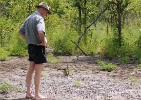 Photo of Allan Savory taking in desertifying land
