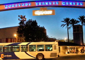 A picture of Ronstadt Transit Center at night