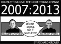 "Greyscale comic, white text on black background (top) reads: ""DOUBLETHINK USA: THE MORE THINGS CHANGE"", ""2007:2013"". The ""2007"" text is large, taking up half the width of the picture (on the left), underneath is a posterized likeness of George W. Bush on television with a banner at the bottom reading, ""NSA WIRETAP SPYING"". The ""2013"" text takes up the right half, and underneath it is a posterized likeness of Barack Obama on television with a banner at the bottom reading, ""NSA PRISM SPYING"". Both presidents are saying, ""It's not spying, and it saves lives!"""