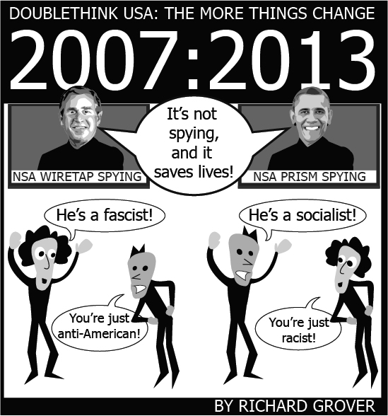 "Greyscale comic, white text on black background (top) reads: ""DOUBLETHINK USA: THE MORE THINGS CHANGE"", ""2007:2013"". The ""2007"" text is large, taking up half the width of the picture (on the left), underneath is a posterized likeness of George W. Bush on television with a banner at the bottom reading, ""NSA WIRETAP SPYING"". The ""2013"" text takes up the right half, and underneath it is a posterized likeness of Barack Obama on television with a banner at the bottom reading, ""NSA PRISM SPYING"". Both presidents are saying, ""It's not spying, and it saves lives!"" Underneath Bush (left) are two figures, the ""curvy-haired"" figure says, ""He's a fascist!"" In response, the ""spiky-haired"" figure says, ""You're just anti-American!"". Underneath Obama (right) are the same two figures, the ""spiky-haired"" figure says, ""He's a socialist!"" In response, the ""curvy-haired"" figure says, ""You're just racist!"""