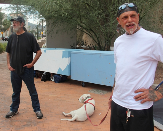 John Tibbets, bulldog, and J.D. Hall (l to r), current residents of Safe Park