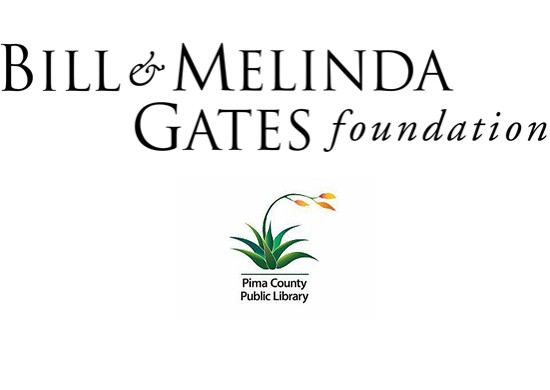 Illustration showing logo of the Gates Foundation poised above that of the Pima County Public Library