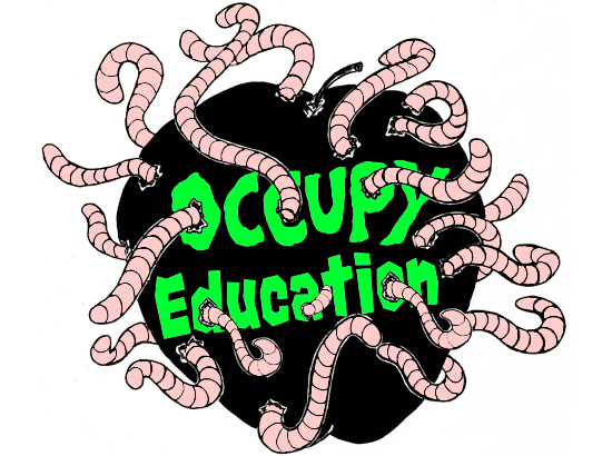 """Apple with the words """"Occupy Education"""" written inside it and overflowing with worms."""