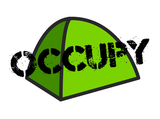 """Drawing of tent with word """"OCCUPY"""" stamped over it"""