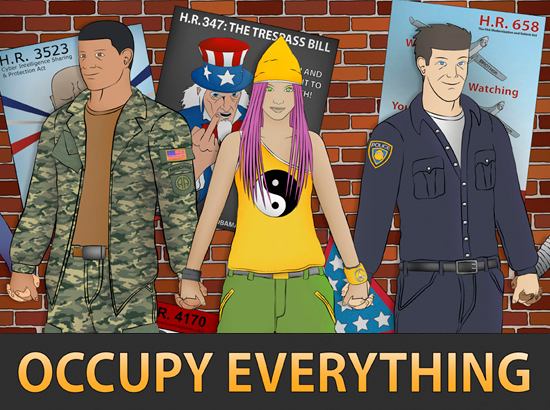 """Text borders image at the top, """"Activate Actuality"""" and at the bottom """"Occupy Everything"""": Rendered in modern style, female protester with pink hair is holding hands with, to her left, a policeman, and to her right, a soldier. A slew of political causes are referenced with posters in the background and pieces of cardboard on the ground."""