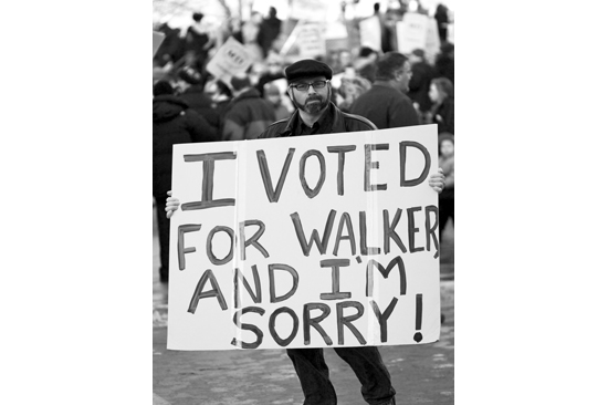 """Wisconsin Protester holding sign, """"I voted for Walker and I'm sorry!"""""""