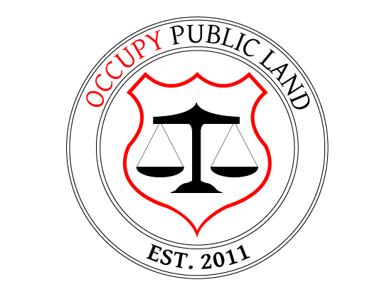 "Occupy Public Land - logo shield - ""EST. 2011"""