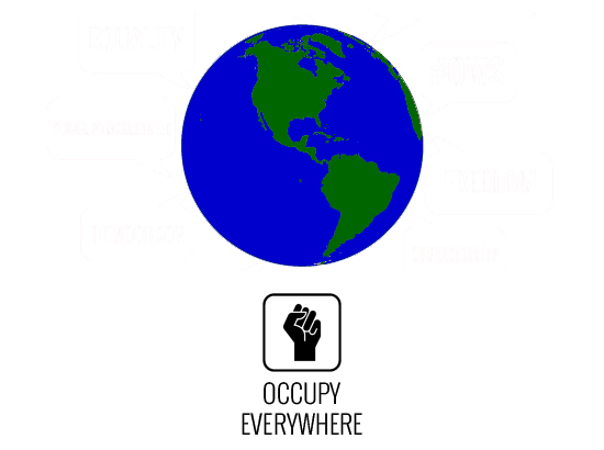 """Globe centered over North and South America. Occupy Fist logo underneath with the words 'Occupy Everywhere'"""