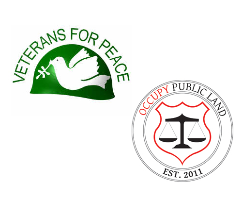 Veterans for Peace and Occupy Public Lands logos