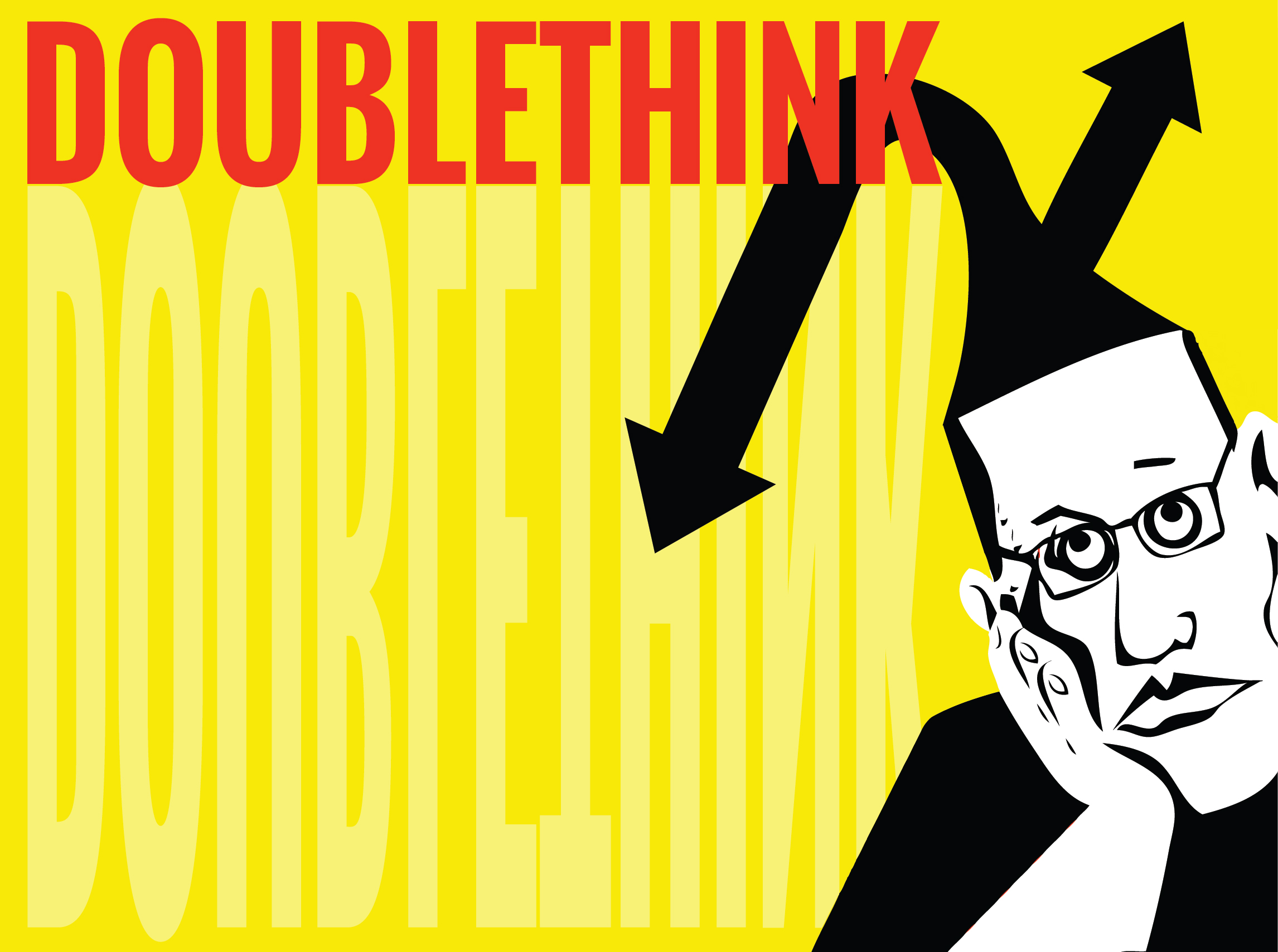 """Contradictory arrows popping out of cartoon head. Large red letters: """"DOUBLETHINK"""""""