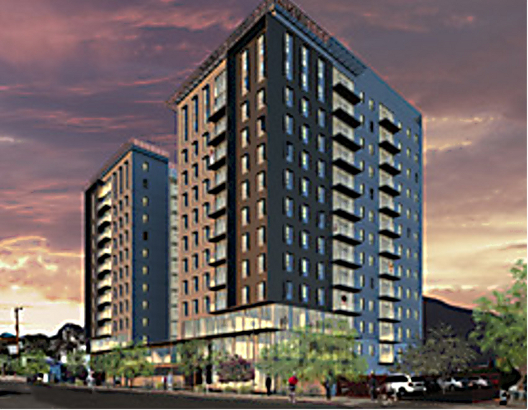 Artist rendering of Level, 14 story buildings at 1020 North Tyndall