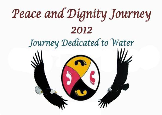 """Text: """"Peace and Dignity Journey 2012 --- Journey dedicated to Water"""" over image: a circle stylized into 4 equal parts: white foot on red background, black foot on yellow background, red foot on white background, and yellow foot on black background. To the left of circle is an eagle, to the right is a vulture."""