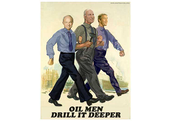 """Painting of three men, arm in arm, the man in the middle holding a hammer. The faces of George W Bush, Dick Cheney, and a third are roughly superimposed onto the three men. At the bottom reads, """"Oil Men Drill It Deeper"""""""
