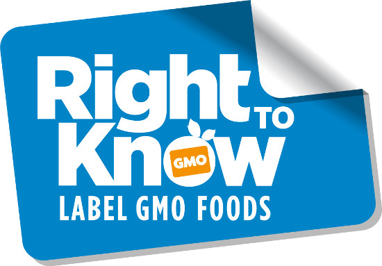 """Stylized label reads, """"Right to know: Label GMO Foods"""""""