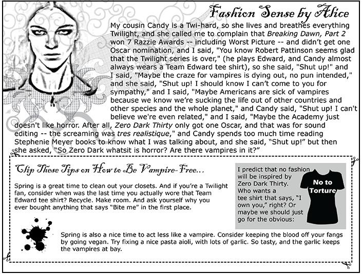 Fashion Sense -- Zero Dark Thirty Meets Twilight
