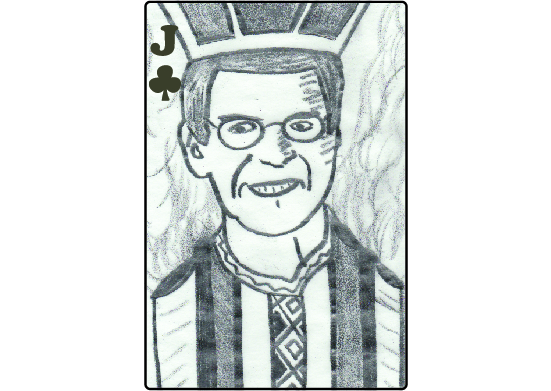 Graphite pencil drawing of Jim Click as the Jack of Clubs--with the dimensions of a playing card. Stripes on his coat double as pipes emitting smoke into the background.