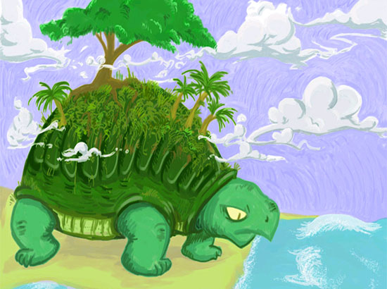 Colorful painting of Turtle with trees growing on its shell looking at the ocean, with clouds swirling around the trees at the top of the image.
