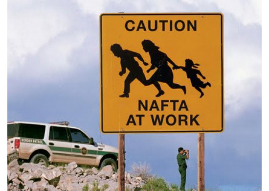 """Caution sign of immigrant family with the words """"NAFTA AT WORK"""" at the bottom of the sign. In the background a border patrol vehicle is parked to the left, and a border patrol agent looks on from the right with binoculars."""