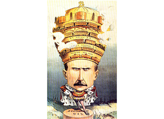 In 1901 Puck published this political cartoon depicting John D. Rockefeller as a king presiding over a landscape that he has devastated. On his crown are the tools of his empire: four railroads–including Pennsylvania's Reading and Lehigh Valley R.R.s– encircle his crown, which is topped by oil derricks and holding tanks.