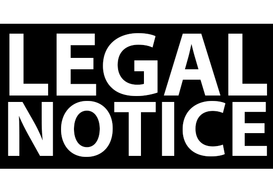"""Large, capitalized, white text, """"LEGAL NOTICE"""" on black background"""