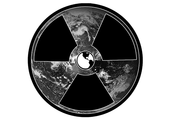 Photograph of the Earth with a radiation symbol over it as a target. At the center of the radiation symbol is a stylized Earth.