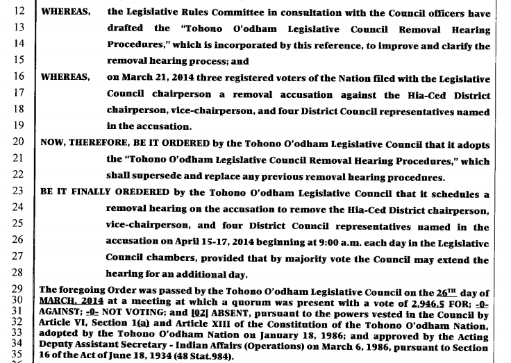 Screenshot [ 2014-04-08 at 5.14.45 PM] of the the Tohono O'odham Legislative Council's resolution regarding removal hearing of Hia-Ced District officials, to be held April 15-17, 2014.