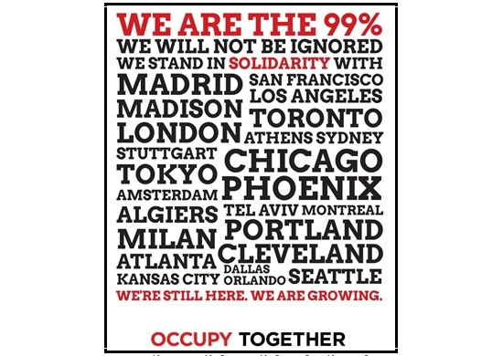 """Imaga of Occupy poster: """"We are the 99% -- We will not be ignored -- We stand in solidarity with Madrid, San Francisco, Madison, [and it lists many more cities]"""