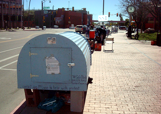 Photo of sleeping pods at Safe Park on Church Ave (looking towards Broadway Blvd) taken 2/8/15