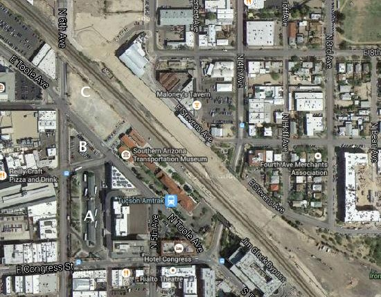 The 3 parcels at issue: A) Ronstadt Transit Center; B) Madden Triangle; C) Toole parcel