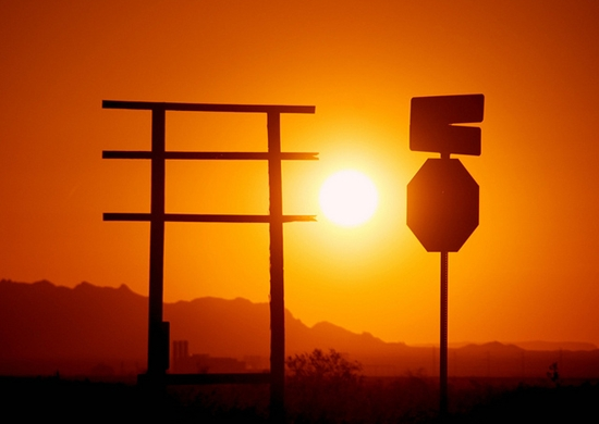 Picture of the sun setting in the Sonoran desert