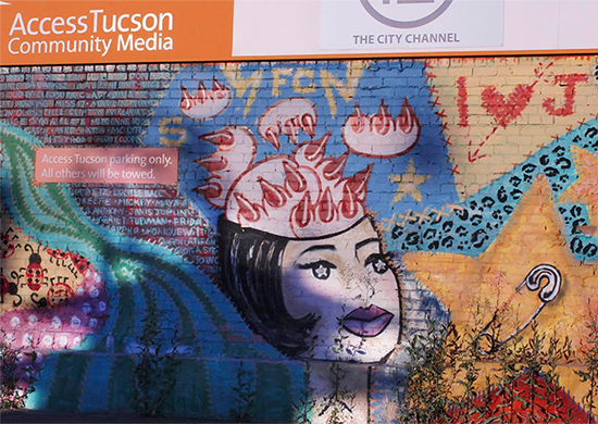 Photo by Norah Booth of mural on Access Tucson building. Shadows from the sunset are prominent Spring 2015