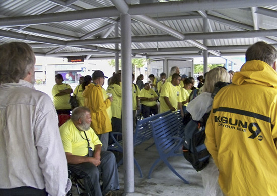Bus Riders Union members gather at Ronstadt Transit Center for the action