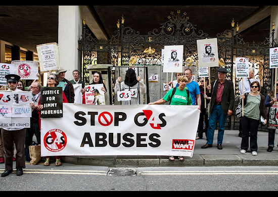 Picture of activists protesting outside the June 6, 2013 G4S annual meeting in London, accusing the company of links with human rights abuses