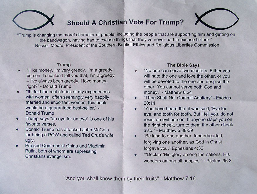 Picture of a leaflet comparing Donald Trump's statements against Biblical injunctions
