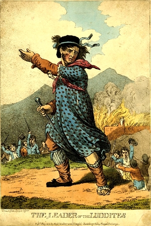 """""""The Leader of the Luddites,"""" engraving from 1812"""