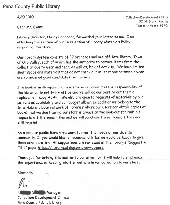 Scanned letter from library answering my letter