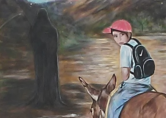Painting showing Jose Antonio Rodriguez on a mule and Death