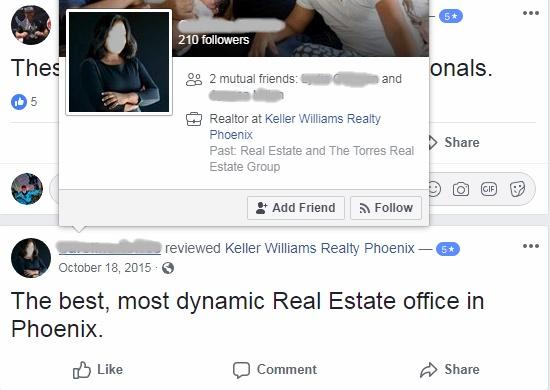 Screen shot of Keller Williams Facebook page