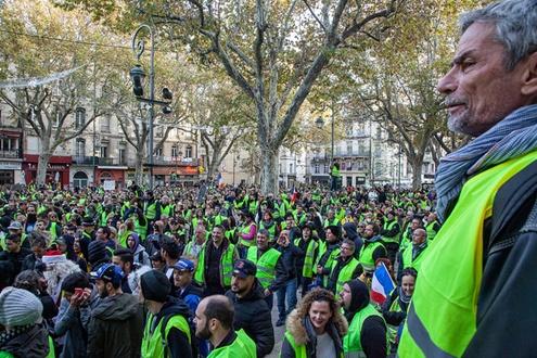 Gathering of gilets jaunes protestors