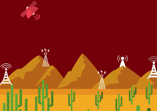 Graphic image of cell towers and cactus