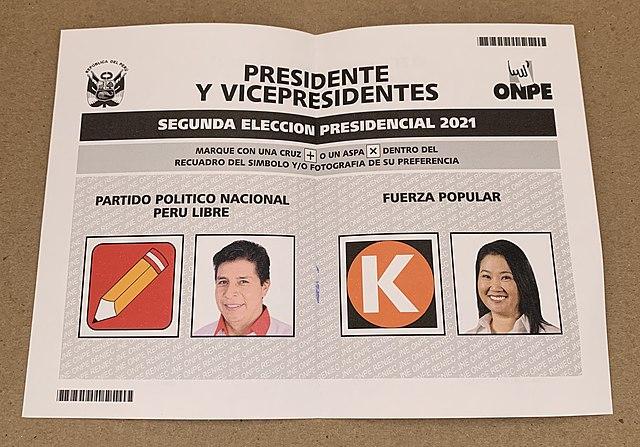Ballot paper for the second round between Castillo and Fujimori