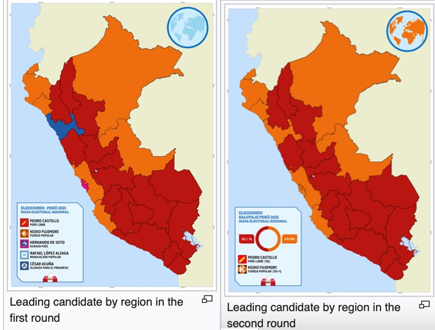 Map showing results in different parts of Peru